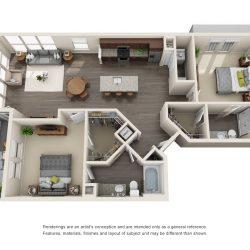 Jefferon Heights Houston Montrose Apartments 2 bedroom, 1185ft² floorplan