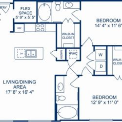 Camden City Center Houston Apartments 2 bedroom, 1200ft² Floorplan