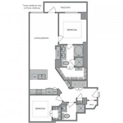 Hanover Montrose Houston Apartments 2 bedroom, 1201ft² Floorplan