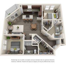 Jefferon Heights Houston Montrose Apartments 2 bedroom, 1203ft² floorplan