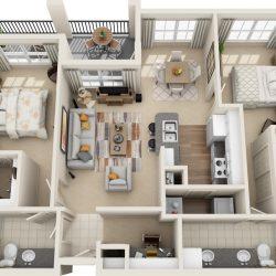 Estates at Memorial Heights Houston Apartments 2 bedroom, 1204ft² Floorplan
