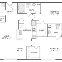 AMLI City Vista Houston Montrose Apartments 2 bedroom, 1209ft² floorplan