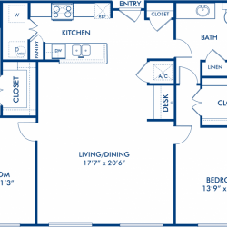 Camden City Center Houston Apartments 2 bedroom, 1210ft² Floorplan