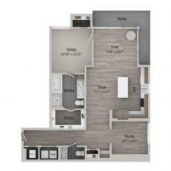 Catalyst Downtown Houston Apartment 1 bedroom, 1212ft² Floorplan
