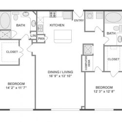 AMLI City Vista Houston Montrose Apartments 2 bedroom, 1222ft² floorplan