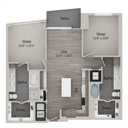 Catalyst Downtown Houston Apartment 2 bedroom, 1233ft² Floorplan