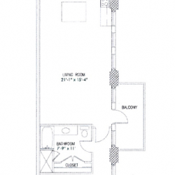 City View Lofts Houston Apartments 2 Bedroom, 1240ft² Floorplan
