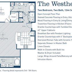 The Westheimer Houston Apartments 2 bedroom, 1244ft² floorplan