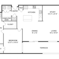 AMLI City Vista Houston Montrose Apartments 1 bedroom, 1247ft² floorplan