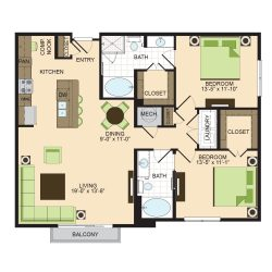 2900 West Dallas Houston Apartment 2 bedroom, 1249ft² floorplan