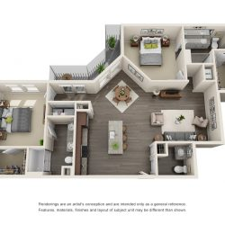 Jefferon Heights Houston Montrose Apartments 2 bedroom, 1253ft² floorplan