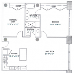 City View Lofts Houston Apartments 2 Bedroom, 1254ft² Floorplan