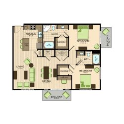 The Susanne Houston Montrose Apartments 2 bedroom, 1258ft² floorplan
