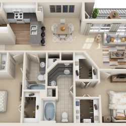 Estates at Memorial Heights Houston Apartments 2 bedroom, 1259ft² Floorplan