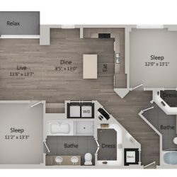 Catalyst Downtown Houston Apartment 2 bedroom, 1266ft² Floorplan