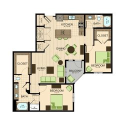 The Susanne Houston Montrose Apartments 2 bedroom, 1269ft² floorplan