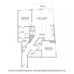 The Sovereign at Regent Square Apartments 2 bedroom, 1275ft² floorplan