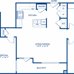 Camden City Center Houston Apartments 2 bedroom, 1278ft² Floorplan