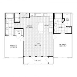 Fairmont Museum District Houston Apartments 2 bedroom, 1279ft² Floorplan