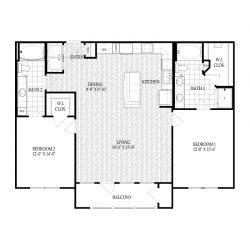 Fairmont Museum District Houston Apartments 2 bedroom, 1279ft² Floorplan