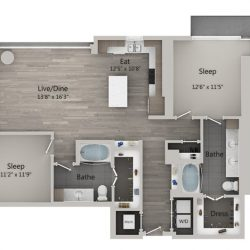 Catalyst Downtown Houston Apartment 2 bedroom, 1283ft² Floorplan