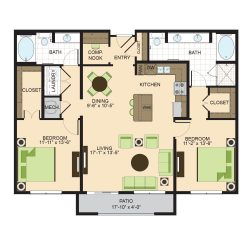 2900 West Dallas Houston Apartment 2 bedroom, 1287ft² floorplan