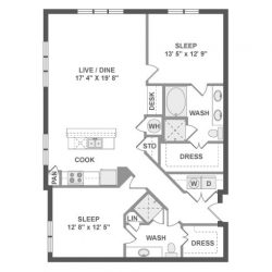 AMLI River Oaks Houston Montrose Apartments 2 bedroom, 1291-1293ft² floorplan