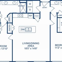 Camden City Center Houston Apartments 2 bedroom, 1302ft² Floorplan