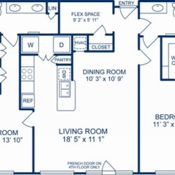 Camden City Center Houston Apartments 2 bedroom, 1303ft² Floorplan