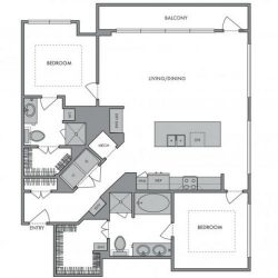 Hanover Montrose Houston Apartments 2 bedroom, 1309ft² Floorplan