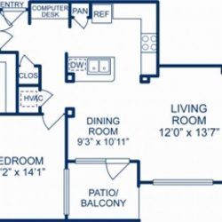 Camden City Center Houston Apartments 2 bedroom, 1314ft² Floorplan