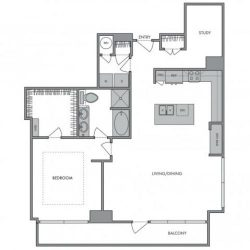 Hanover Montrose Houston Apartments 1 bedroom, 1322ft² Floorplan