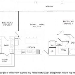 The Sovereign at Regent Square Apartments 2 bedroom, 1334ft² floorplan