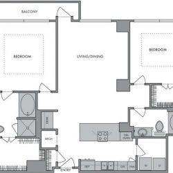 Hanover Montrose Houston Apartments 2 bedroom, 1336ft² Floorplan