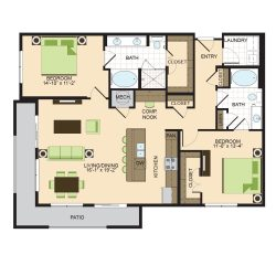 2900 West Dallas Houston Apartment 2 bedroom, 1352ft² floorplan