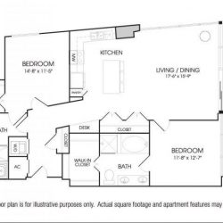 The Sovereign at Regent Square Apartments 2 bedroom, 1357ft² floorplan