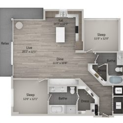 Catalyst Downtown Houston Apartment 2 bedroom, 1360ft² Floorplan