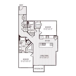 Ashton West Dallas Montrose Houston Apartments 2 bedroom, 1365ft² floorplan