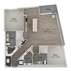 Catalyst Downtown Houston Apartment 2 bedroom, 1382ft² Floorplan
