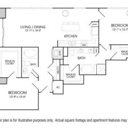 The Sovereign at Regent Square Apartments 2 bedroom, 1388ft² floorplan