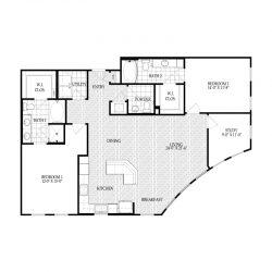 Fairmont Museum District Houston Apartments 2 bedroom, 1390ft² Floorplan