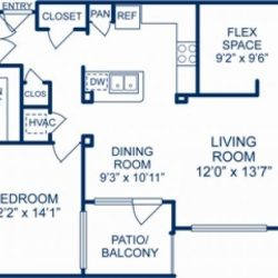Camden City Center Houston Apartments 2 bedroom, 1404ft² Floorplan