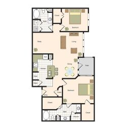 Jackson Hill Houston Apartments 2 bedroom, 1405ft² Floorplan