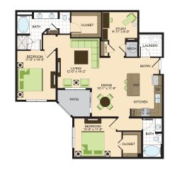 2900 West Dallas Houston Apartment 2 bedroom, 1406ft² floorplan