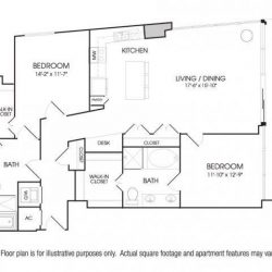 The Sovereign at Regent Square Apartments 2 bedroom, 1433ft² floorplan