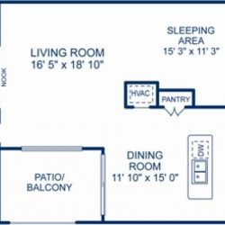 Camden City Center Houston Apartments 2 bedroom, 1448ft² Floorplan