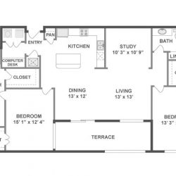 AMLI City Vista Houston Montrose Apartments 2 bedroom, 1454ft² floorplan