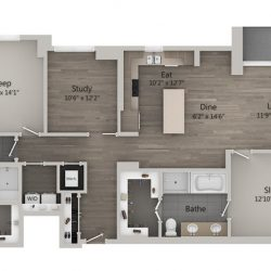 Catalyst Downtown Houston Apartment 2 bedroom, 1533ft² Floorplan