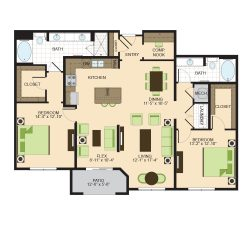 2900 West Dallas Houston Apartment 2 bedroom, 1551ft² floorplan