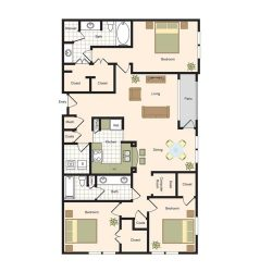 Jackson Hill Houston Apartments 3 bedroom, 1555ft² Floorplan
